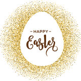 Happy Easter greeting card with gold egg Royalty Free Stock Images