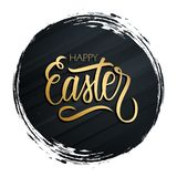 Happy Easter greeting card with golden colored hand lettering on black circle brush stroke background.