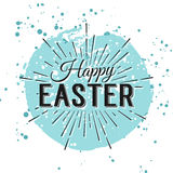 Happy Easter greeting card. Hand Drawn lettering with egg and wa Stock Images