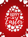 Happy Easter greeting card with hand drawn lettering and white hearts creating egg illustration. On red background Royalty Free Stock Photography