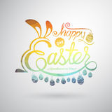 Happy Easter Greeting Card.Hand lettering.Vector illustration Stock Photo