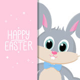 Happy Easter greeting card with handwritten holiday wishes and easter rabbit. Royalty Free Stock Photography