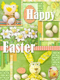 Happy easter greeting card. Holiday collage with easter decorations. Bright light green easter frame background. Stock Photo