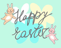 Happy easter greeting card  illustration retro vintage with easter egg Royalty Free Stock Images