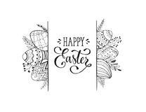 Easter greeting card. Happy Easter greeting card isolated on white background. Easter eggs composition hand drawn black on white. Decorative horizontal frame stock illustration