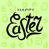 Happy Easter greeting card. Lettering. Black word Spring on a green background. Vector illustration stock illustration