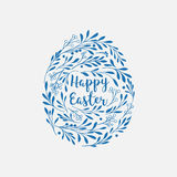 Happy Easter greeting card with lettering and floral elements in Royalty Free Stock Image