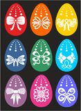 Happy Easter greeting card with many eggs stock images