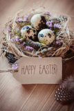 Happy Easter - Greeting card. Natural easter nest with quail eggs and paper tag Royalty Free Stock Photography