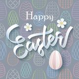 Happy Easter greeting card over seamless pattern background stock illustration