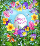 Happy easter greeting card. Pansy, tulip, daffodil, dragonfly, ladybug, butterfly, flowers heart frame with eater egg. Royalty Free Stock Photo