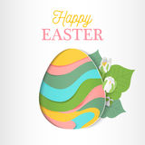 Happy Easter greeting card in paper cut style. Stock Image