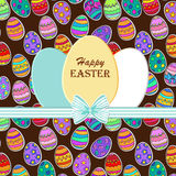 Happy Easter greeting card. Paper eggs with realistic bow. Vector illustration.  Easter background. Egg sticker Royalty Free Stock Photo