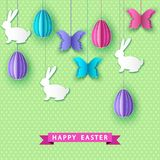 Happy easter greeting card with  papercut   eggs,  butterfly and. Happy easter greeting card with  papercut  colorful  eggs,  butterfly and  bunny.  Vector flat Stock Image
