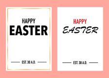 Happy easter greeting card with pinky background stock illustration