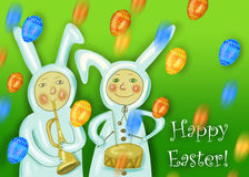 Happy Easter greeting card with rabbit boy Stock Photos