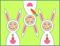 Happy Easter greeting card with rabbit boy stock image