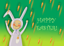 Happy Easter greeting card with rabbit boy Stock Images