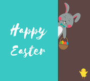 Happy Easter greeting card with rabbit, bunny, eggs and chicken. Vector Stock Photography