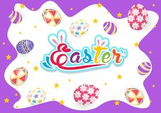 Happy Easter greeting card with rabbit, bunny and eggs. Vector Stock Image