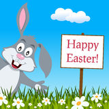Happy Easter Greeting Card with Rabbit Royalty Free Stock Photo