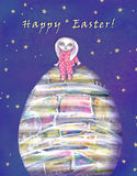 Happy Easter greeting card with rabbit and easter egg. stock images