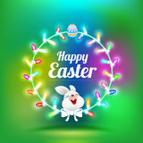 Happy Easter greeting card with rabbit Royalty Free Stock Photos
