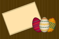 Happy easter greeting card with retro easter egg illustrations Royalty Free Stock Photos