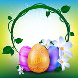Happy Easter greeting card with round frame of painted eggs and spring flowers. Happy Easter greeting card with round frame of painted eggs and spring flowers Stock Photos