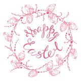 Happy easter. Greeting card with the sign of happy easter in pink tones on a white background, dikor to easter, graphic in zen style, vector illustration Royalty Free Stock Images