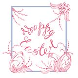 Happy easter. Greeting card with the sign of happy easter in pink tones on a white background, dikor to easter, graphic in zen style, vector illustration Royalty Free Stock Image