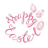 Happy easter. Greeting card with the sign of happy easter in pink tones on a white background, dikor to easter, graphic in zen style, vector illustration Stock Photo