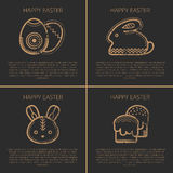 Happy easter Greeting card template with Easter rabbit Stock Photography
