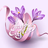Happy Easter greeting card template with flowers and ribbon Royalty Free Stock Photography
