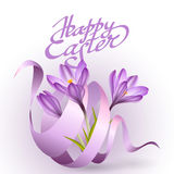 Happy Easter greeting card template with flowers and ribbon Royalty Free Stock Images