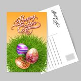 Happy Easter Greeting Card. Template Greeting Card with Three Brightly Colored Easter Eggs on a Round Patch of Green Grass Over Gray Background to Celebrate the Stock Image