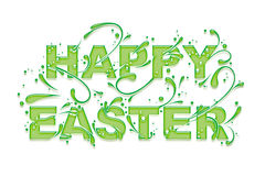 Happy Easter. 'Happy Easter' Greeting Card with tendril letters, isolated on white Vector Illustration