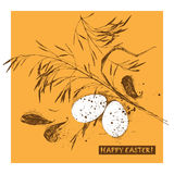 Happy Easter greeting card. Vintage style. Vector illustration Stock Photo
