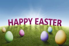 Happy Easter greeting with colorful eggs Stock Photo