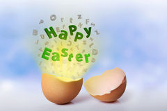Happy easter greeting from cracked egg Royalty Free Stock Images