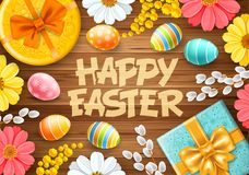 Cute Happy Easter Greeting Card royalty free illustration