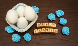 Happy Easter Greeting Message And Eggs Royalty Free Stock Photography