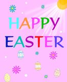 Happy Easter. Easter greeting on pink background with sun rays shining on colorful writing surrounded by colored daisies and dyed eggs Stock Photo
