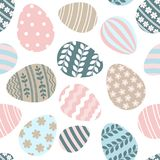 Happy Easter greeting seamless pattern with decorated painted Easter eggs. Happy Easter seamless pattern greeting card with decorated painted Easter eggs. Vector vector illustration