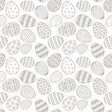 Happy Easter greeting seamless pattern with decorated painted Easter eggs. Happy Easter seamless pattern greeting card with decorated painted Easter eggs. Vector stock illustration