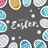 Happy Easter Greetings card. Colorful Eggs in paper cut style. Spring holidays on grey. Space for text. Origami flower Royalty Free Stock Images