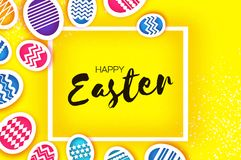 Happy Easter Greetings card. Colorful Eggs in paper cut style. Spring holidays on yellow. Space for text. Stock Photography