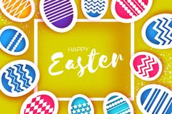 Happy Easter Greetings card. Colorful Eggs in paper cut style. Spring holidays on yellow. square frame. Space for text Royalty Free Stock Image