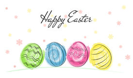 Happy Easter greetings card with colorful watercolor brush Royalty Free Stock Image