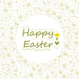 Wishing you a happy easter. Happy easter greetings. Clean card design with tulip and easter silhouettes in the background Royalty Free Stock Photos